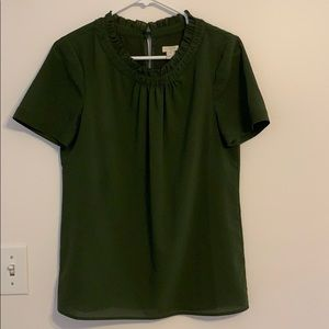 J Crew Short-Sleeved Green Blouse w/ Ruffle Trim 4